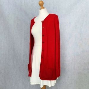 Marks and Spencer red long lambswool cardigan
